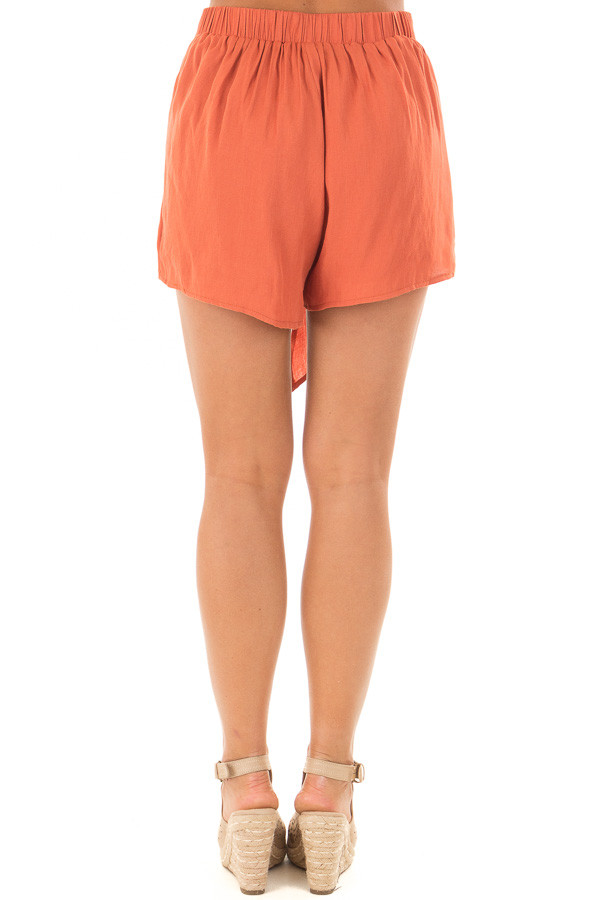 Rust Woven Shorts with Flowy Tie back
