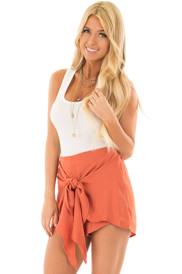 Rust Woven Shorts with Flowy Tie front closeup