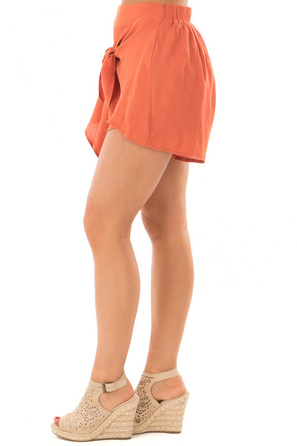 Rust Woven Shorts with Flowy Tie left side