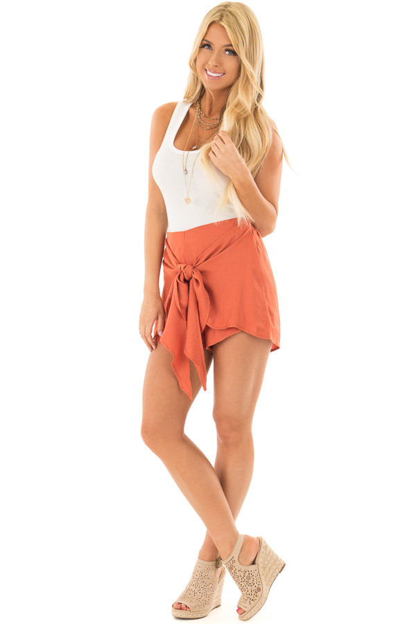 Rust Woven Shorts with Flowy Tie front full body