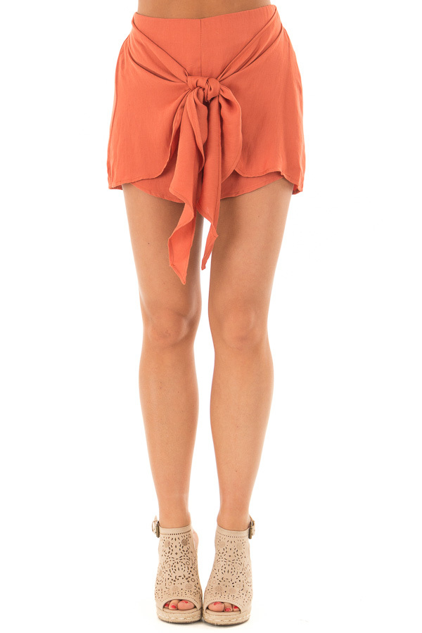 Rust Woven Shorts with Flowy Tie front