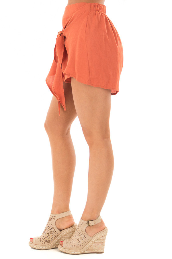 Rust Woven Shorts with Flowy Tie right side