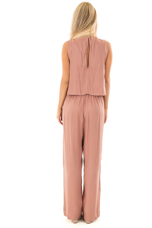 Rose Taupe Layered Jumpsuit back full body