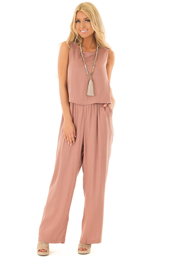 Rose Taupe Layered Jumpsuit front full body