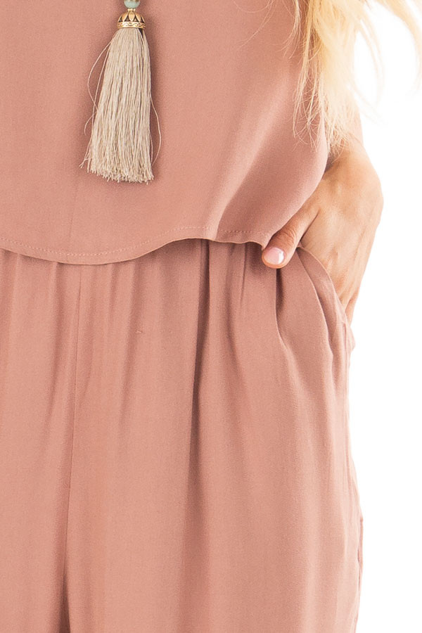Rose Taupe Layered Jumpsuit detail
