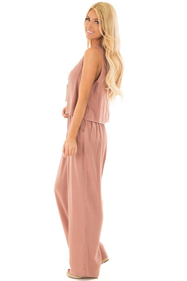 Rose Taupe Layered Jumpsuit side full body