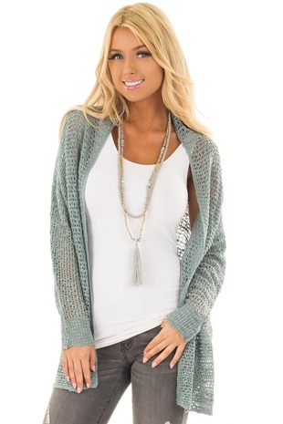 Sage Long Sleeve Cable Knit Cardigan front close up