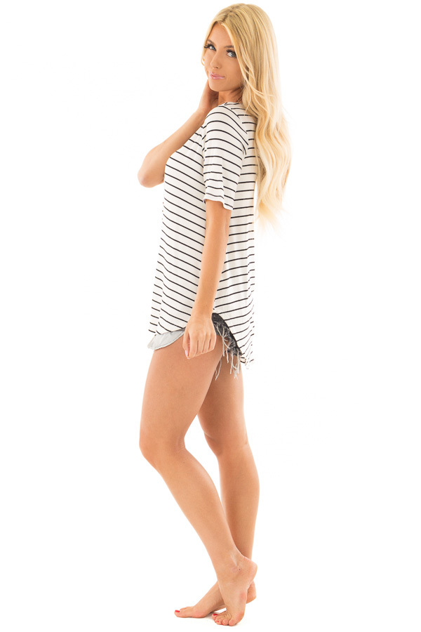 White and Black Stripe Top side full body