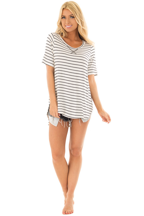 White and Black Stripe Top front full body