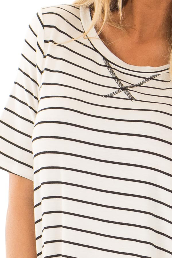 White and Black Stripe Top detail