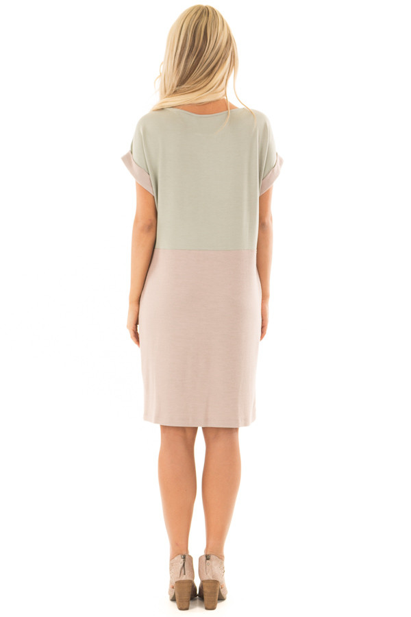 Sage and Mauve Color Block Dress with Hidden Pockets back full body