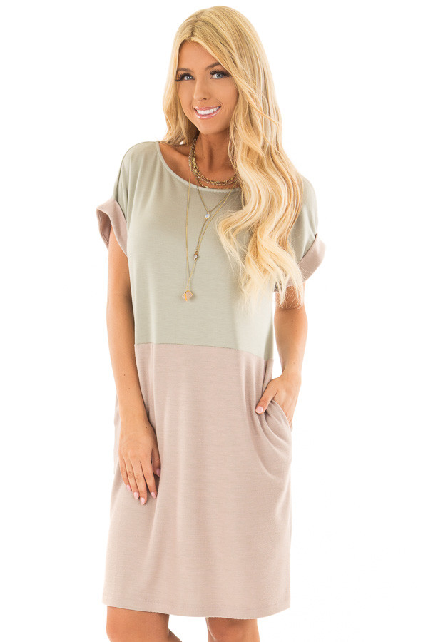 Sage and Mauve Color Block Dress with Hidden Pockets front close up