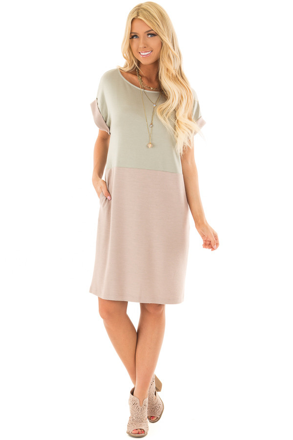 Sage and Mauve Color Block Dress with Hidden Pockets front full body