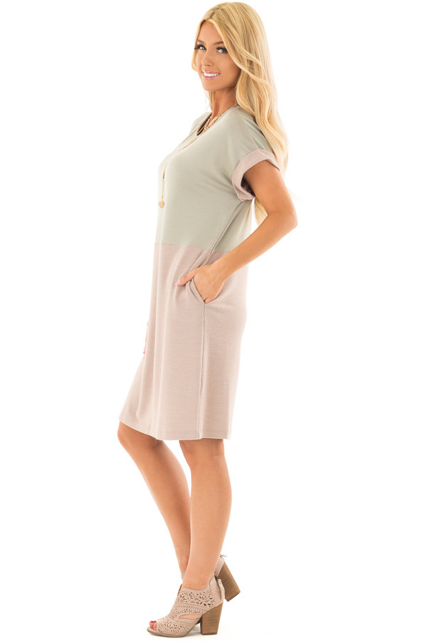 Sage and Mauve Color Block Dress with Hidden Pockets side full body