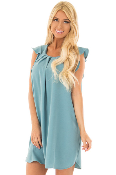 Sky Blue Dress with Ruffle Sleeves front close up