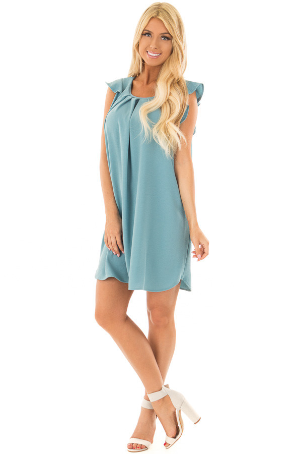 Sky Blue Dress with Ruffle Sleeves front full body