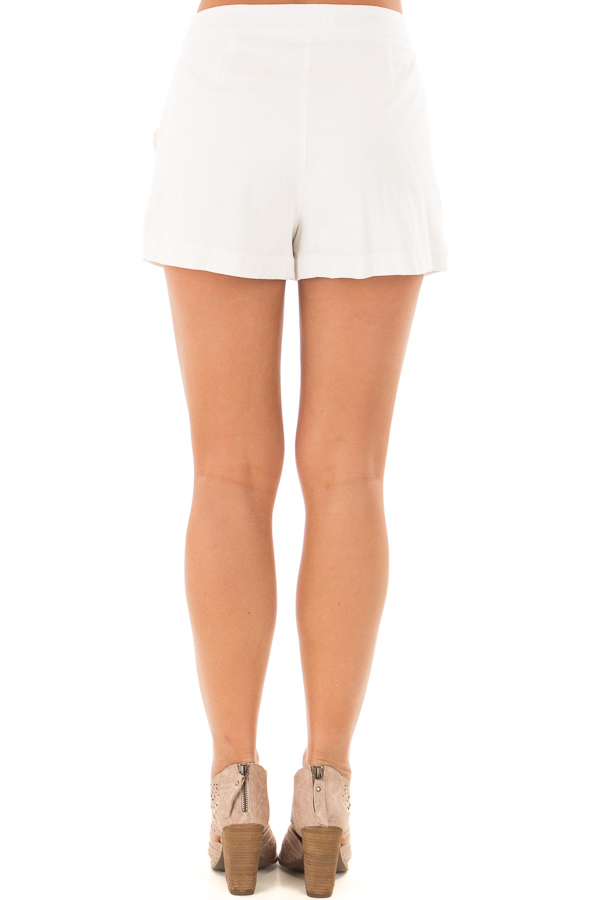 White Buttoned Up Shorts with Side Pockets back view