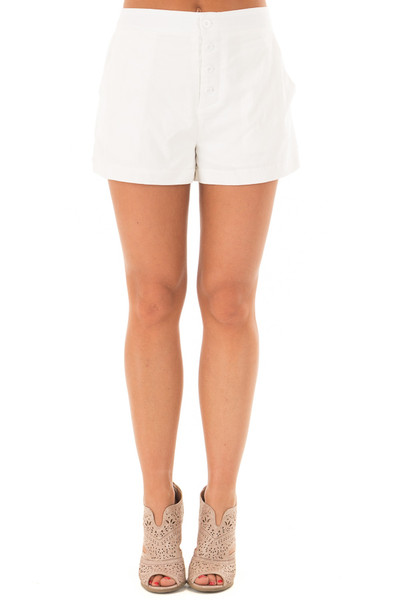 White Buttoned Up Shorts with Side Pockets front view