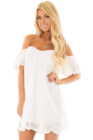 White Off the Shoulder Dress with Crochet Details front close up