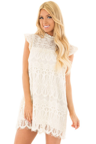 Ivory Short Sleeve Lace Dress with Keyhole Back front close up