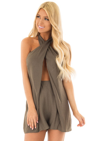 Olive Romper with Cross Over and Cutout Neckline front close up