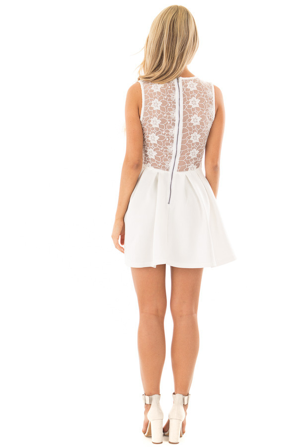 Off White Mini Dress with Lace Detail back full body
