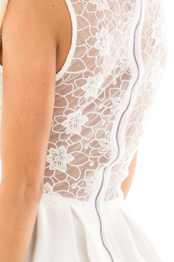 Off White Mini Dress with Lace Detail detail