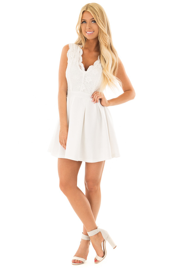 Off White Mini Dress with Lace Detail front full body