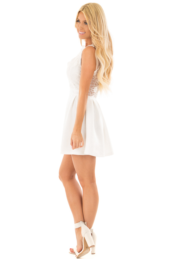 Off White Mini Dress with Lace Detail side full body