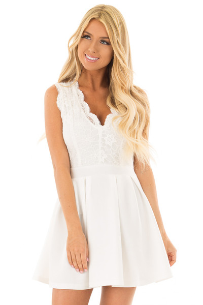 Off White Mini Dress with Lace Detail front close up