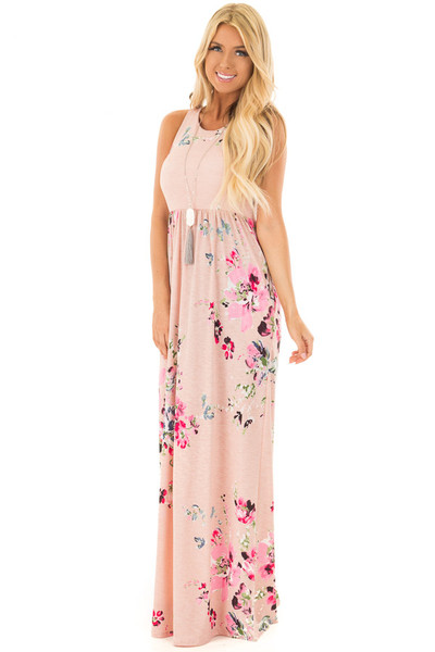 Blush Floral Racerback Slinky Maxi Dress with Side Pockets front full body