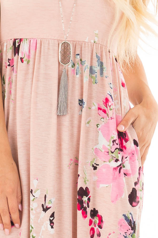 Blush Floral Racerback Slinky Maxi Dress with Side Pockets detail