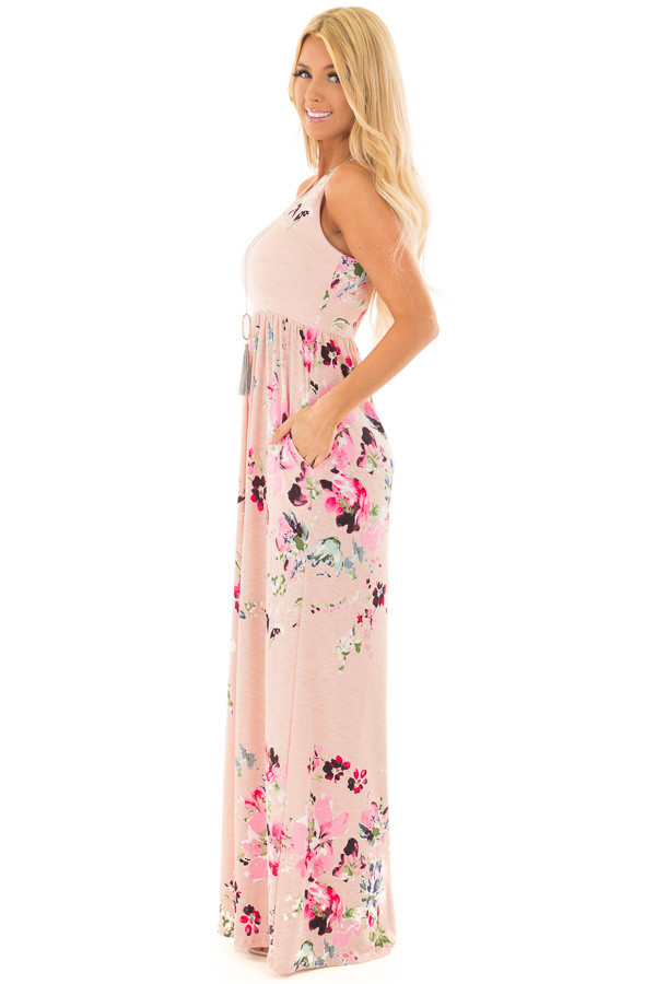 Blush Floral Racerback Slinky Maxi Dress with Side Pockets side full body