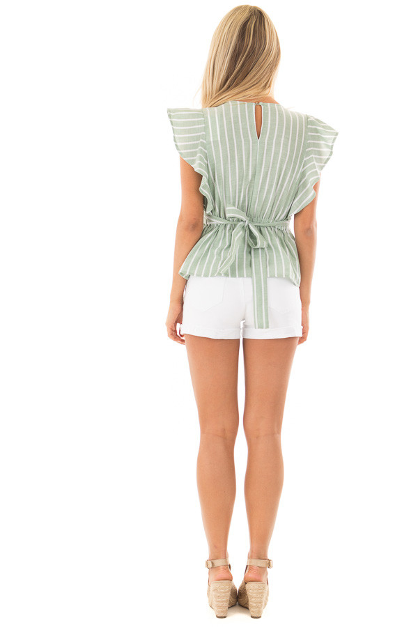 Sage Striped Short Sleeve Top with Front Tie Detail back full body