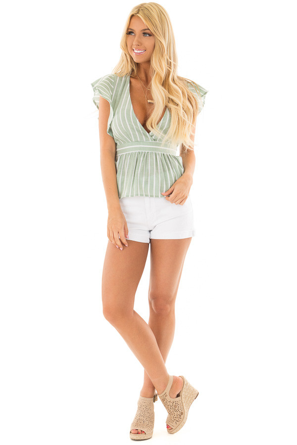 Sage Striped Short Sleeve Top with Front Tie Detail front full body