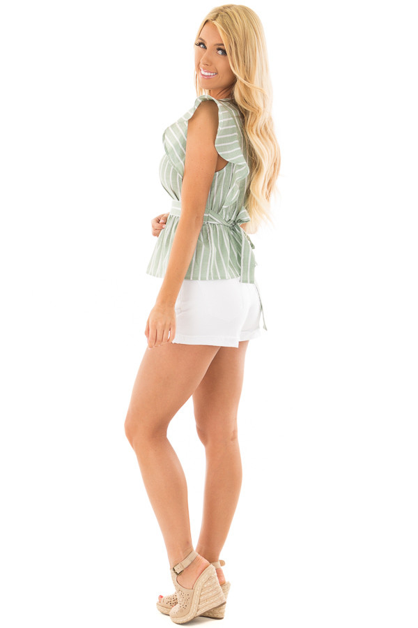 Sage Striped Short Sleeve Top with Front Tie Detail side full body