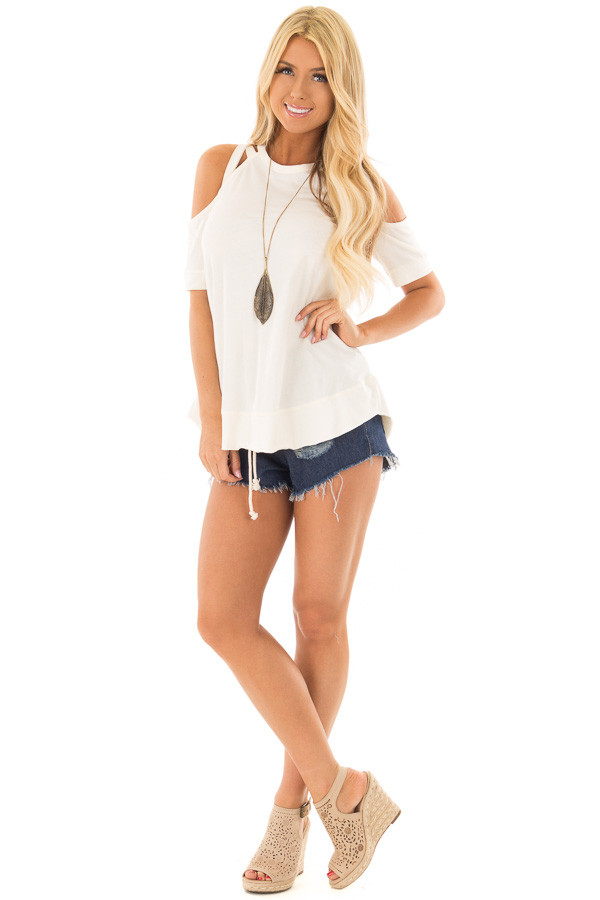 Off White Cold Shoulder Top with Strap Details front full body