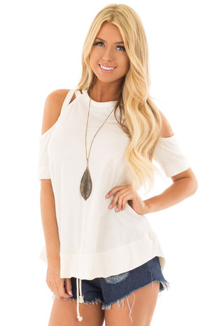 Off White Cold Shoulder Top with Strap Details front closeup