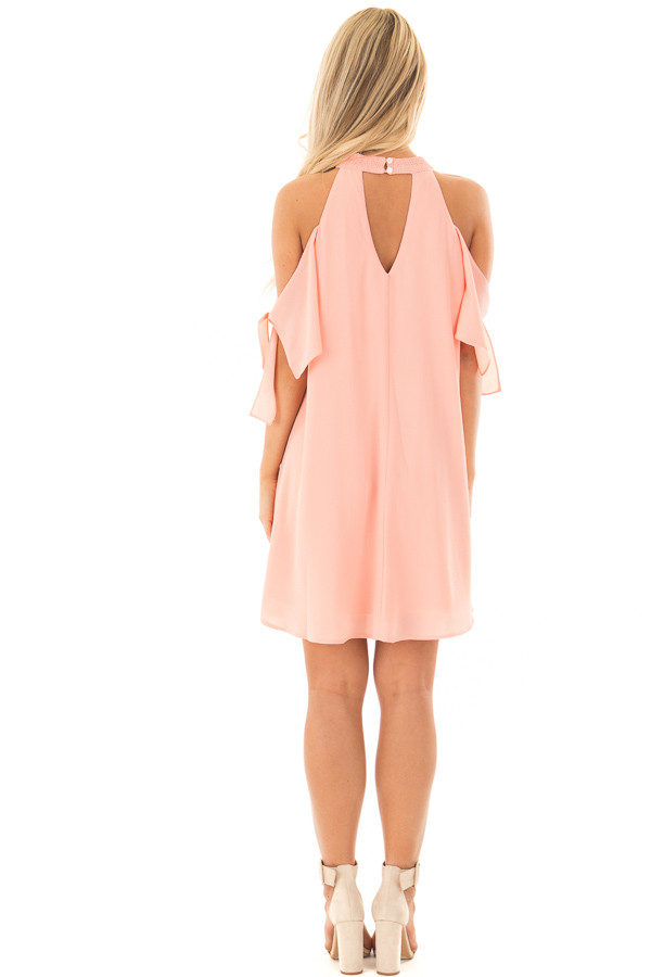 Peach Flowy Cold Shoulder Dress with Sleeve Tie Details back full body