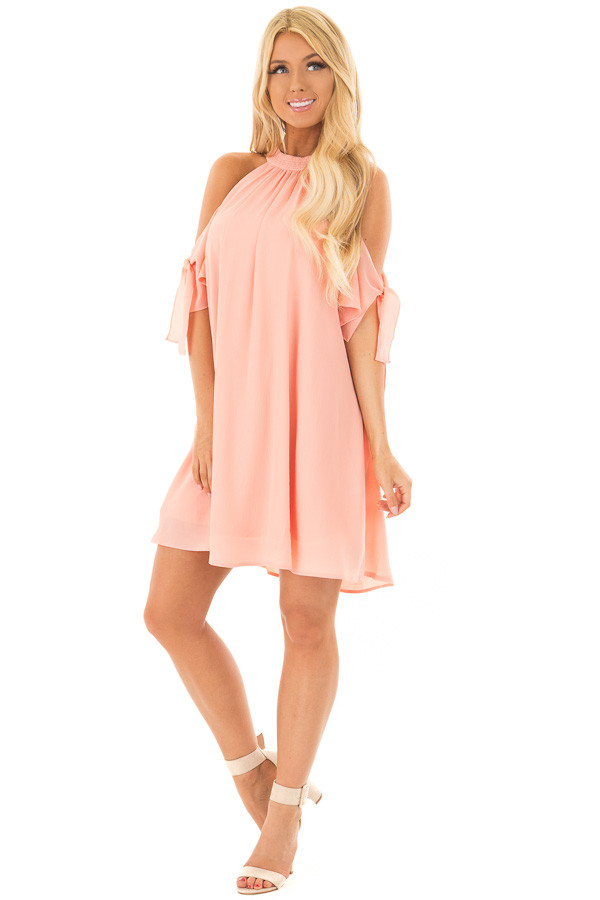 Peach Flowy Cold Shoulder Dress with Sleeve Tie Details front full body