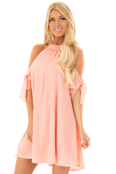 Peach Flowy Cold Shoulder Dress with Sleeve Tie Details front closeup