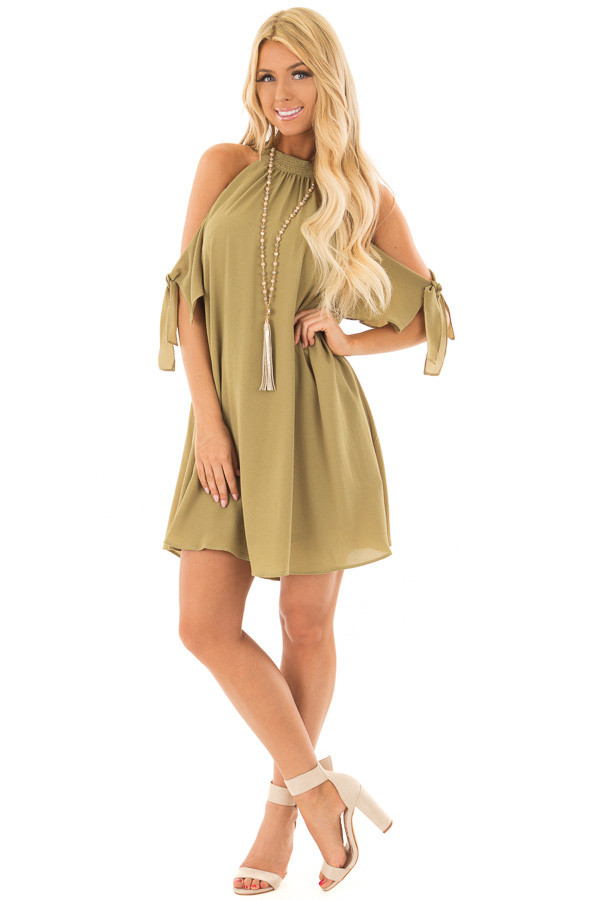 Light Olive Cold Shoulder Dress with Sleeve Tie Details front full body
