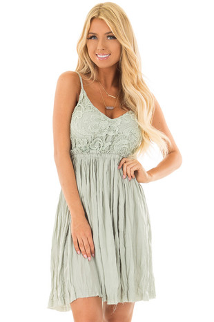 Sage V Neck Mini Dress With Crochet Details front closeup