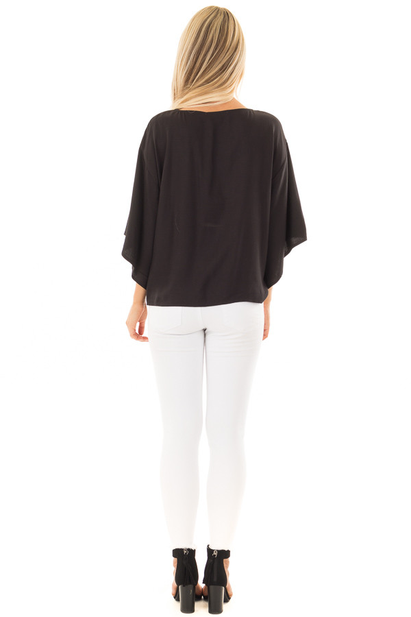 Black Oversized Comfy Top with Front Tie back full body