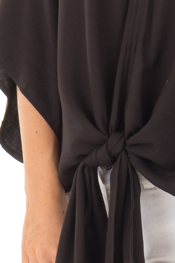 Black Oversized Comfy Top with Front Tie front detail