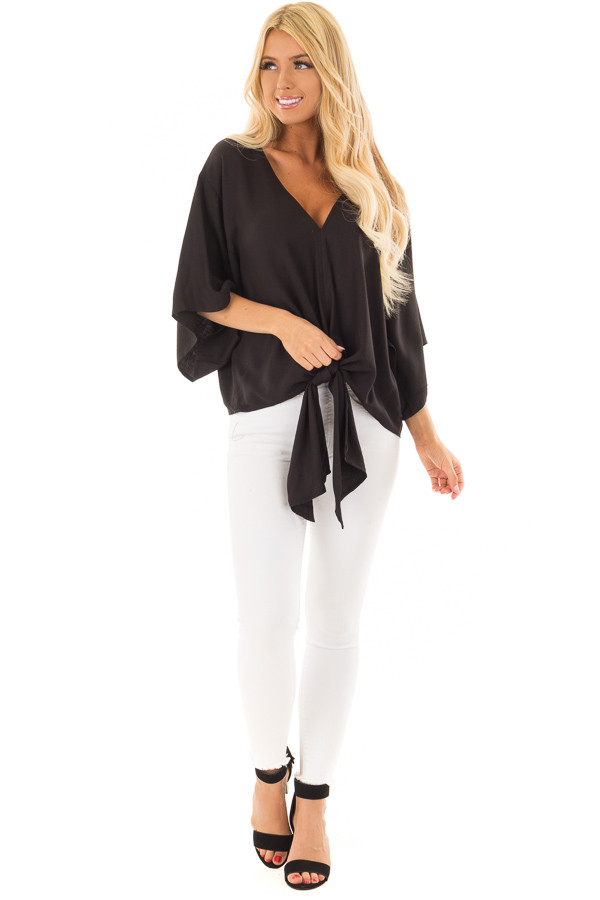 Black Oversized Comfy Top with Front Tie front full body