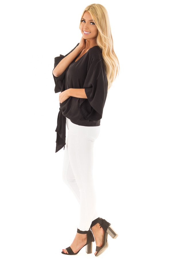 Black Oversized Comfy Top with Front Tie side full body