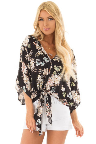 Black Floral Print V Neck Top with Front Tie front closeup