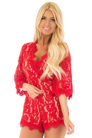 Scarlet Floral Lace Romper with Bell Sleeves front closeup