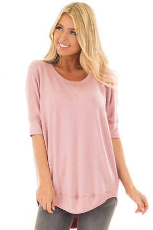 Dusty Rose Half Sleeve Dolman Sweater with Rounded Hem front close up